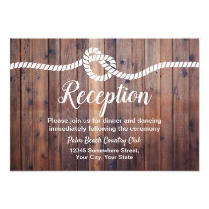 Rustic Tying The Knot Barn Wedding Reception Card