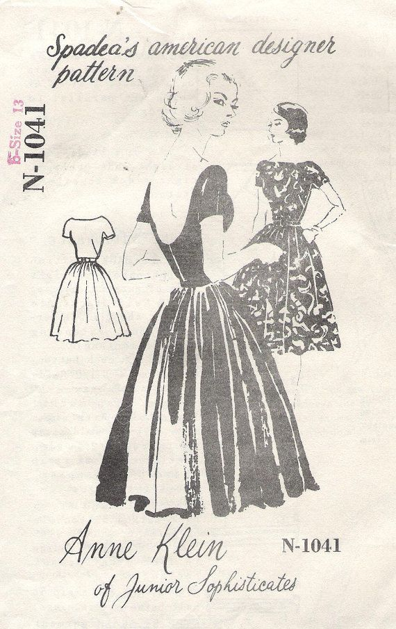 Vintage 1950s Anne Klein of Junior Sophisticates Cocktail Dress Sewing Pattern, Spadea American Designer N-1041, offered on Etsy by GrandmaMadeWithLove on Etsy, $25.00