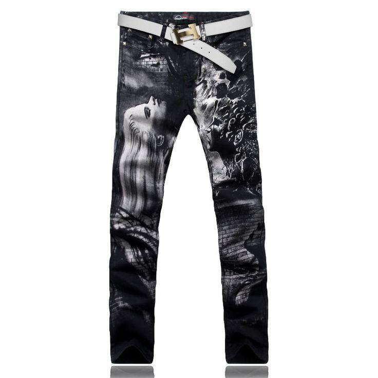 Мужская мода длинные волосы красота печать джинсы мужской цветной рисунок окрашенные тонкие джинсовые брюки черные брюки бесплатная доставка