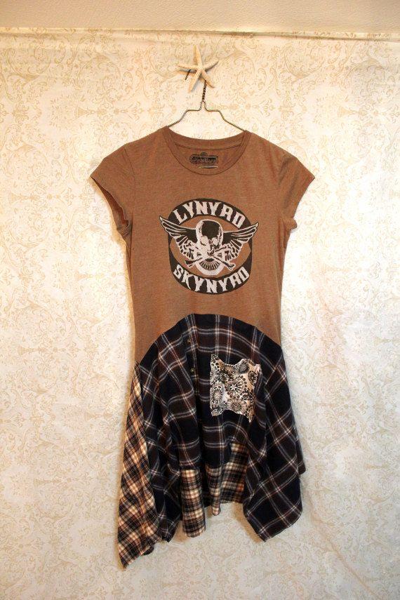 Boho Grunge Tshirt Dress, Rocker Plaid