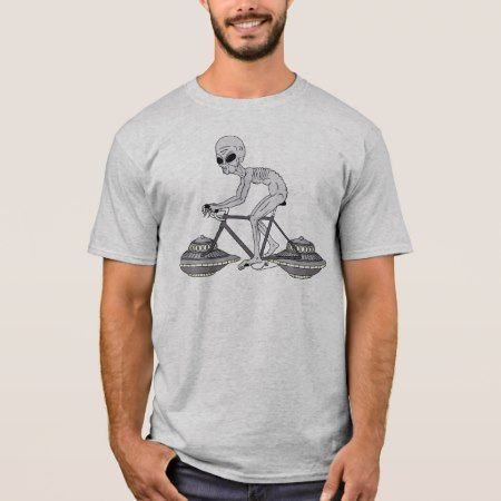Grey Alien Riding Bike With UFO Wheels T-Shirt - tap, personalize, buy right now!