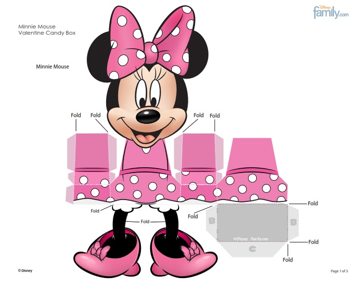Free Minnie Mouse 3d Favor Box Printable