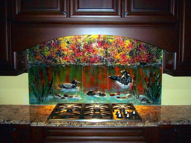 Fused Glass Loon Mural Designer Glass Mosaics Designer Glass Mosaics