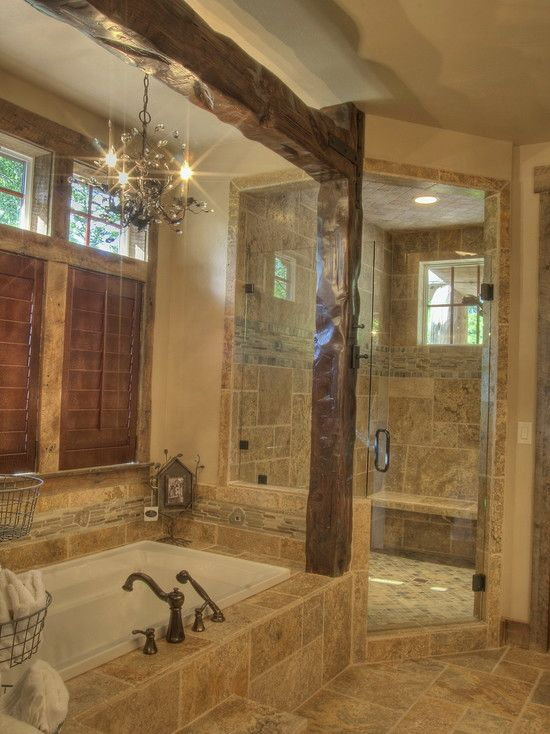 Love the exposed beams and chandelier over tub...oh I LOVE this!!