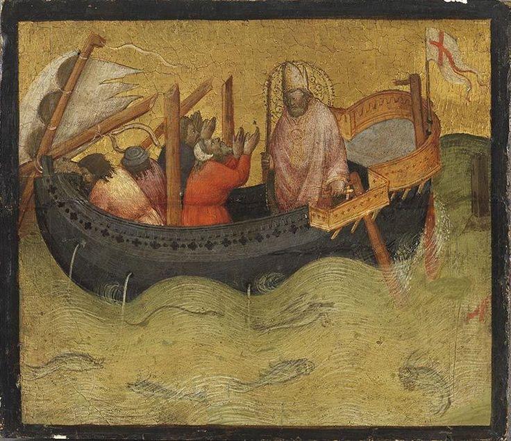 Saint Nicholas helps in Distress (Saint Nicholas saves a Ship from Sinking) / San Nicolás en la tormenta // 14th century // Agnolo Gaddi // Alte Pinakothek