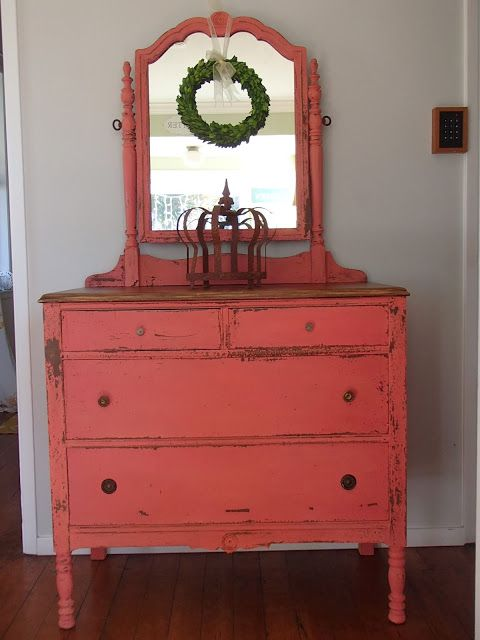 Chalk Painted Furniture by Color Series - Coral Chalk Paint   www.mommyenvy.com
