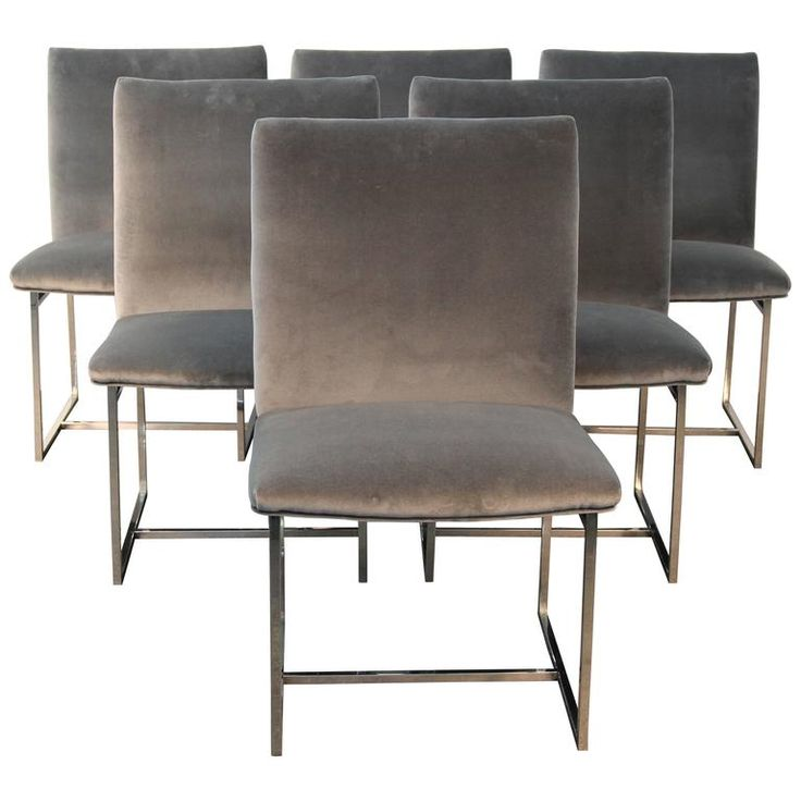 Set Of Six Chrome And Velvet Milo Baughman Style Dining Chairs