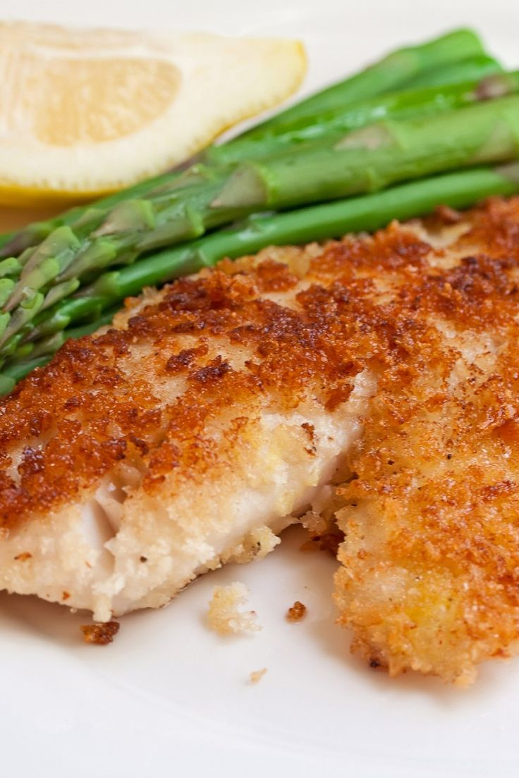 Parmesan Crusted Tilapia | KitchMe...I modified with wheat thins instead of breadcrumbs and without parmesean. Delicious.