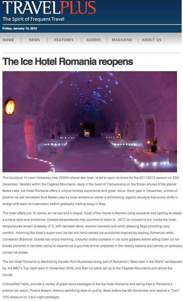 Ice Hotel Romania featured in Travel Plus, 14th November 2011.  untravelledpaths.com