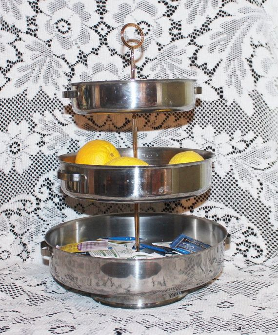 Tidbit tray 3 tiered cake pan vintage bakeware  by prettydish