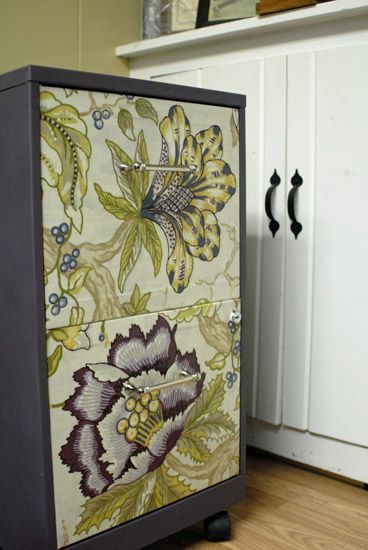 Ugly filing cabinet turned FAB! Fabric + Mod Podge + spray paint