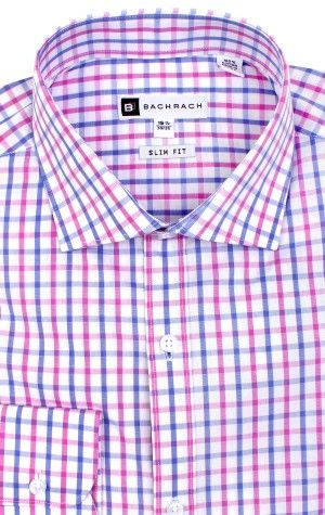 Ellis Slim Fit Button Cuff Purple Dress Shirt
