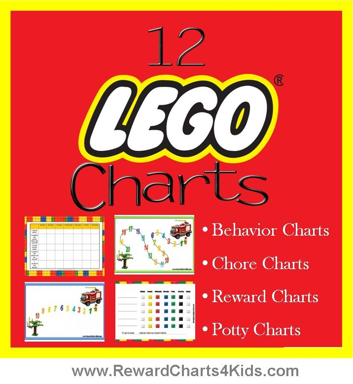 Lego reward charts, behavior charts, chore charts, potty training charts and incentive charts