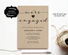 The 25 best engagement invitation template ideas on pinterest engagement invitation template printable engagement by vinewedding stopboris Images