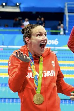 #RIO2016 - Best of Day 1 - Katinka Hosszu of Hungary celebrates his gold medal of women's 400m individual medley at Olympic Aquatics Stadium on August 6...