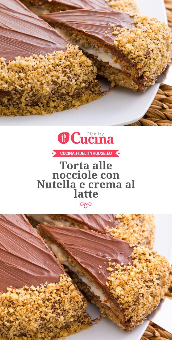 #Torta alle #nocciole con #Nutella e crema al latte