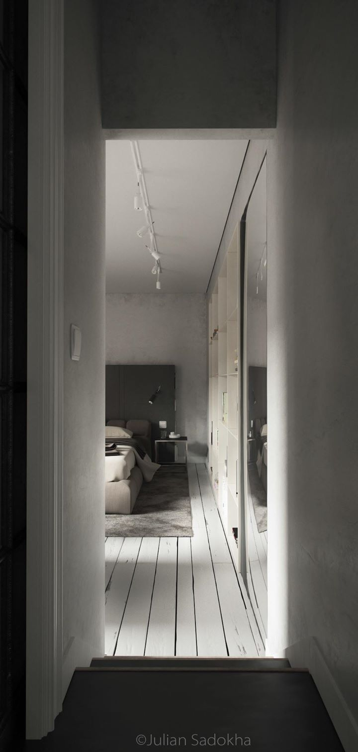 Project all white studio apartment perianth interior design new - Tucked Away Down A Single Hallway Is A Private Bedroom The Perfect Retreat For The End Of A Long Dinner Party Or Just The End Of The Day