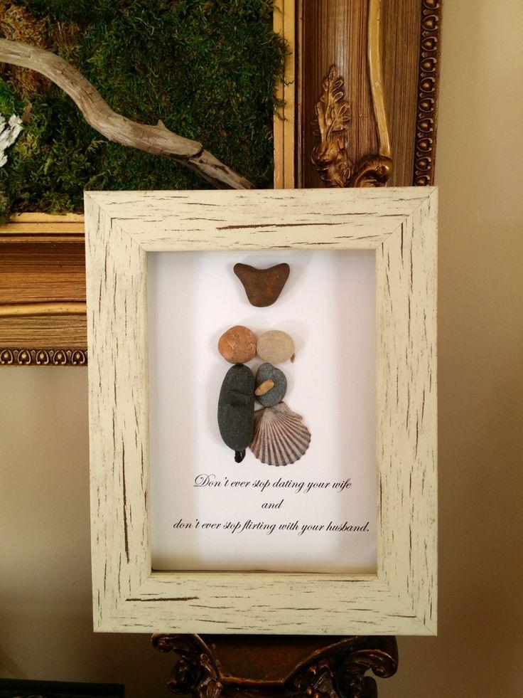 Unique anniversary gift, wedding gift, parents gift, pebble art, stone art, rock art by madebynatureandme on Etsy