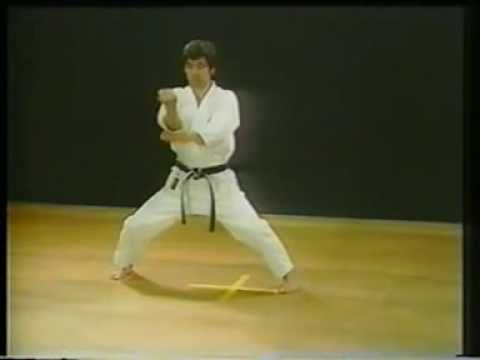 Shotokan Karate, Kata Tekki Sandan - Kanazawa Hirokazu. The embusen for this kata has been much analysed by karateka and historians. Many believe this represents that the karateka is fighting on horseback; others believe that it represents the karateka fighting with his back against a wall. While others say the kata was developed for fighting on a boat.