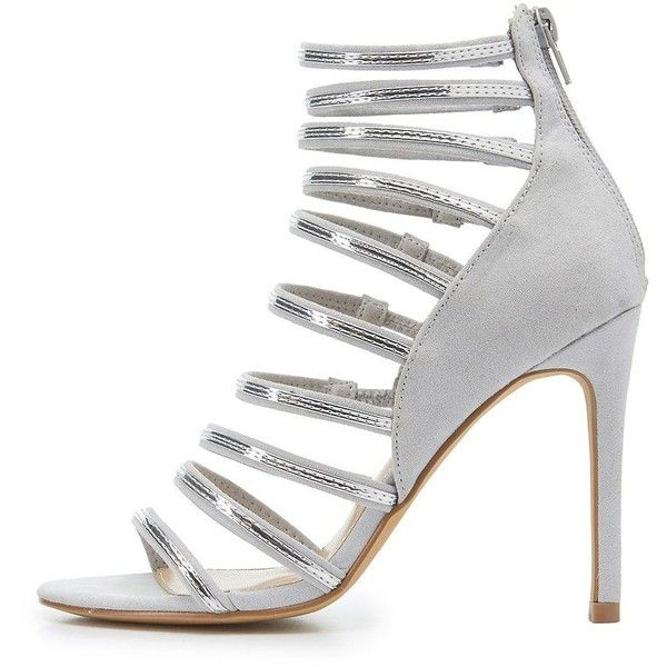 Charlotte Russe Metallic-Trim Strappy Dress Sandals ($25) ❤ liked on Polyvore featuring shoes, sandals, grey, strappy sandals, grey sandals, heeled sandals, strap heel sandals and sexy strappy sandals