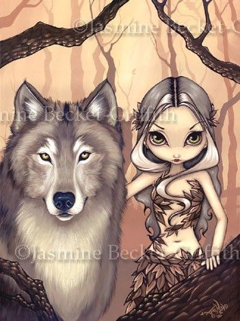 A Wolfish Friend gothic fantasy fairy tale fairytale WOLF wolves art print by Jasmine Becket-Griffith 12x16 BIG via Etsy