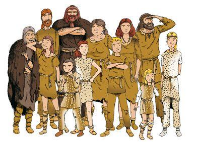 Hier zie je de sociale omstandigheden. Ze leefden in een groep van 15 tot 20 personen. En ze waren min of meer gelijk aan elkaar.