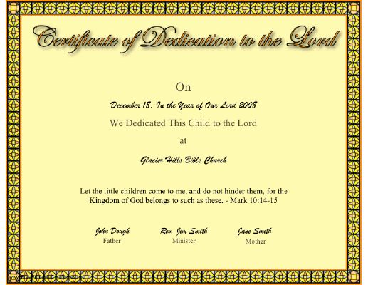this christian certificate of a baby or child dedication