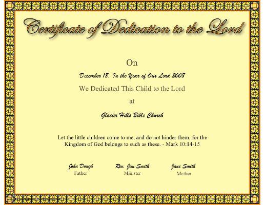 Christian Baby Dedication Certificates Pictures to Pin on – Baby Dedication Certificate Template