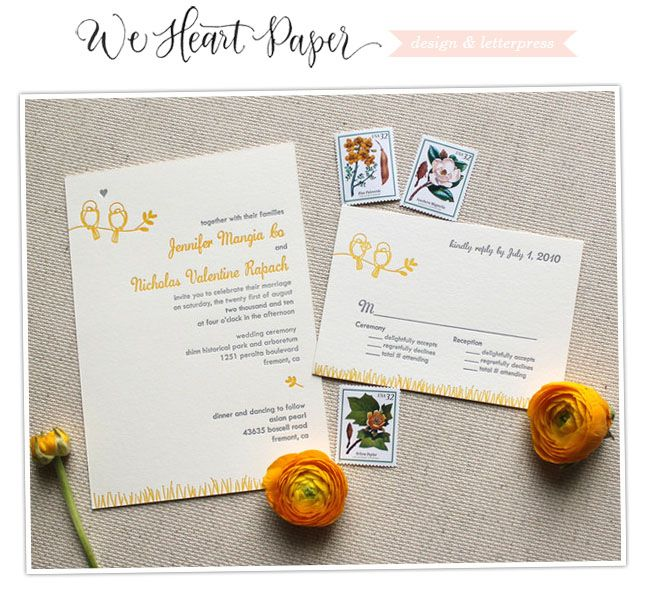 Wedding Invitations from We Heart Paper. Love the birds, and that color!