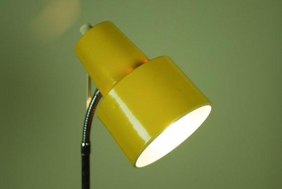 70's Gooseneck Adjustable Yellow Floor Lamp by independencevintage