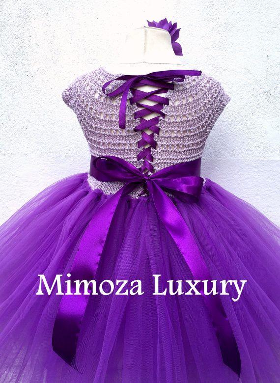 Púrpura flor vestido de niña vestido de Dama de honor