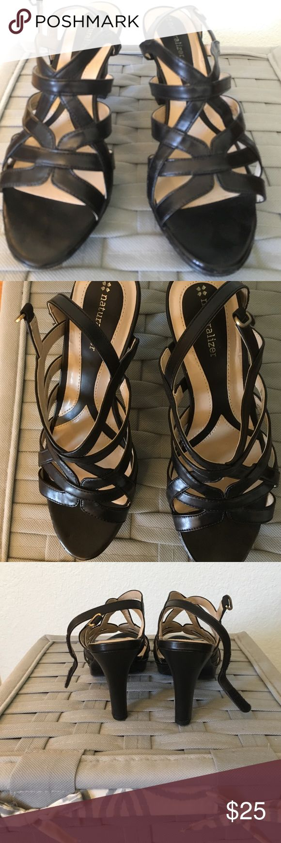 "Women's Size 9 Naturalizer Heeled Sandals Worn once, in perfect condition.  Very cute strapped 3.5"" heeled sandal. I cant't wear them due to weird arthritic feet. Naturalizer Shoes Sandals"