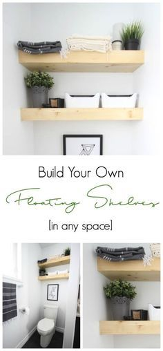 Learn how to build your own floating selves between two walls! This DIY takes no time at all and looks amazing! Love the modern design!
