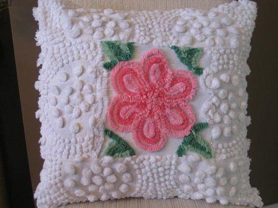 Vintage Chenille Patchwork Pillow