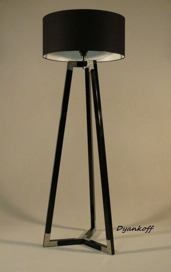 Handmade Tripod Floor Lamp Wooden Stand In Glossy Black Color