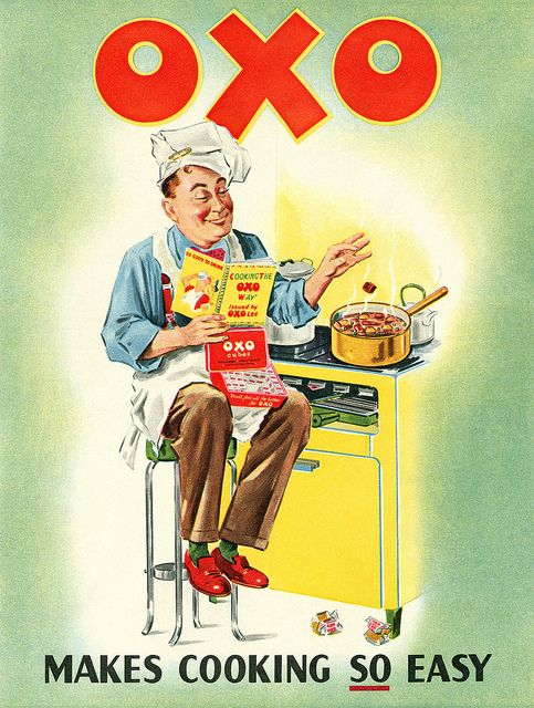 1950s OXO add, the product type is red and block, along with a blocky font, which seems to be a trend of these vintage advertisements