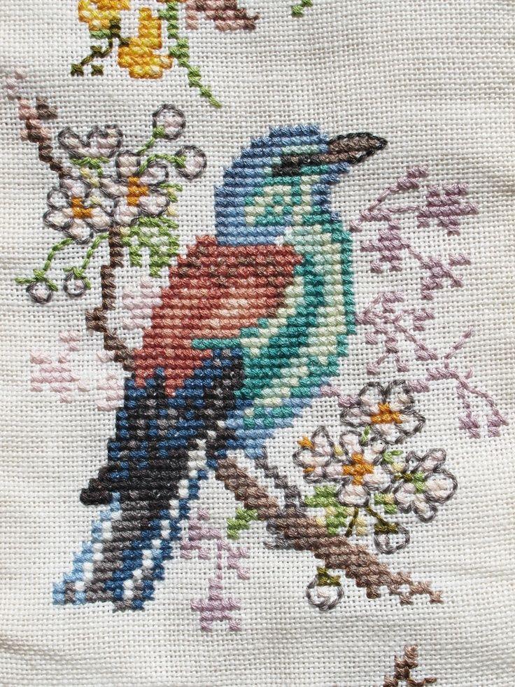 cross stitch blue green bird