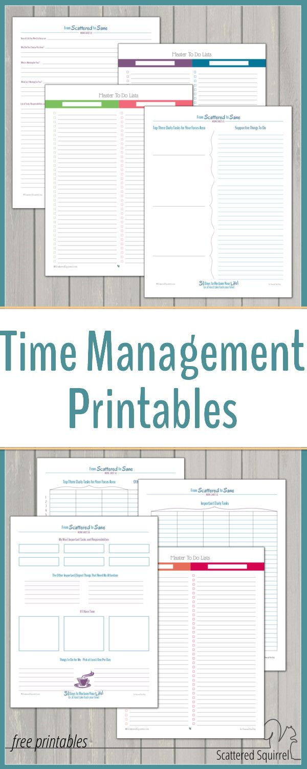 Take control of your time with these free time management printables.