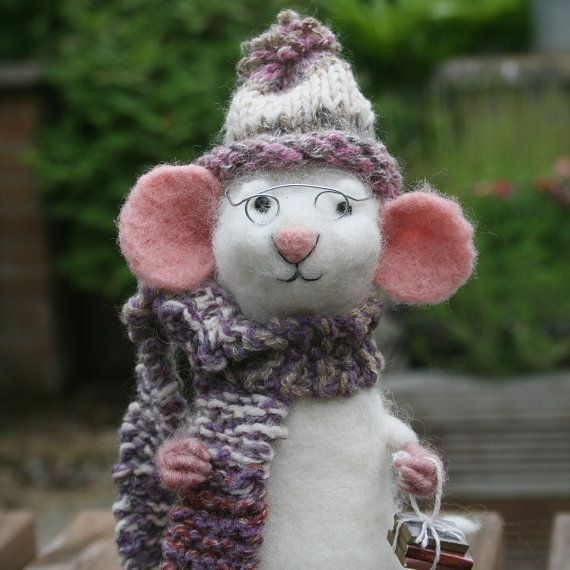 Felt mouse wool sculpture  poseable felted mouse  needle