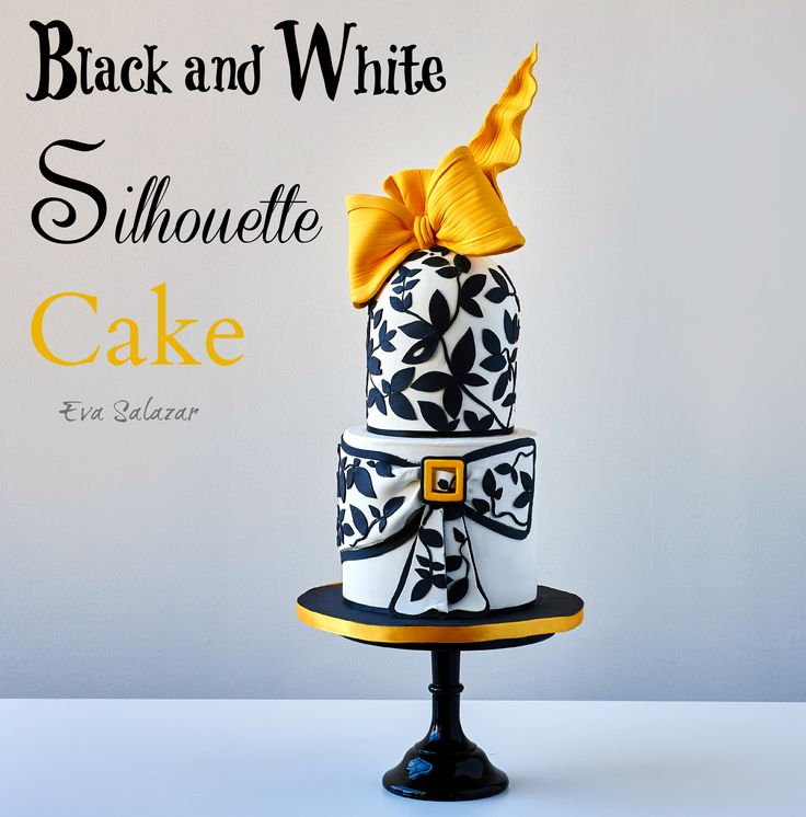 Black and white silhouette cake from my class Fondant Fashionista Cakes with Style