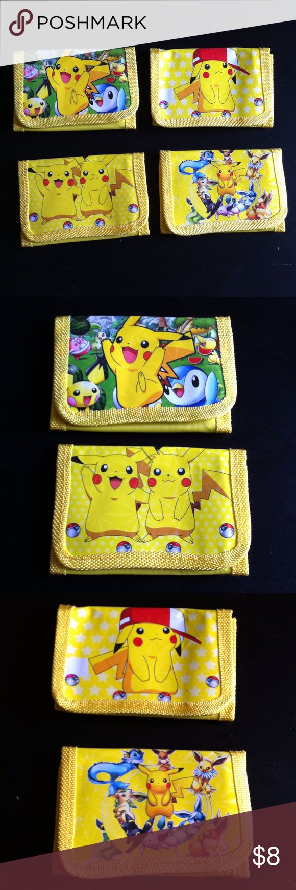 Pokemon wallet All new. I have 4 designs available. It's a pickachu wallet. It has a zipper for bills and to side pockets for cards. Selling 2 x 8.00. No trades or Pp thanks Other
