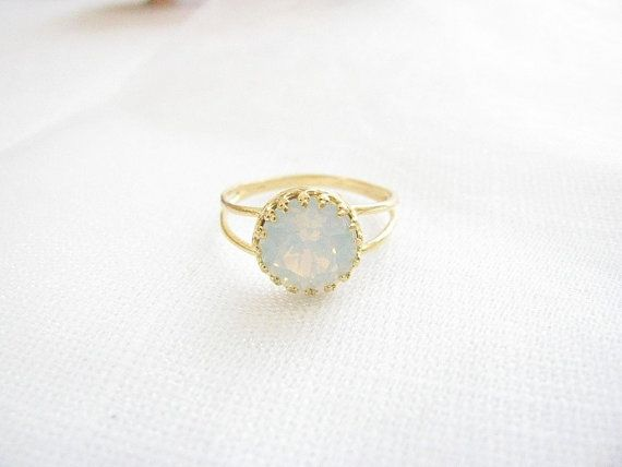 20% OFF Gold opal ring gold ring with white opal by MoonliDesigns