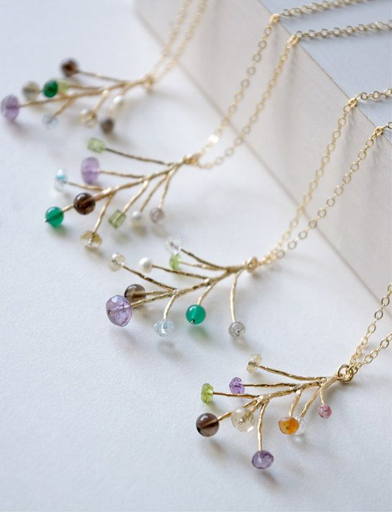Pine Leaf Necklaces Gemstone Necklace Nature by SarahOfSweden