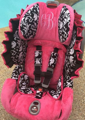Black and White Damask and Hot Pink Toddler Car Seat Cover