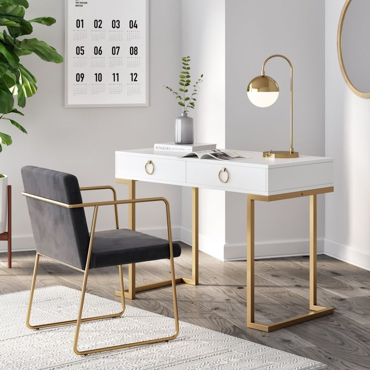 Leighton White Two-Drawer Modern Desk With Gold Legs And