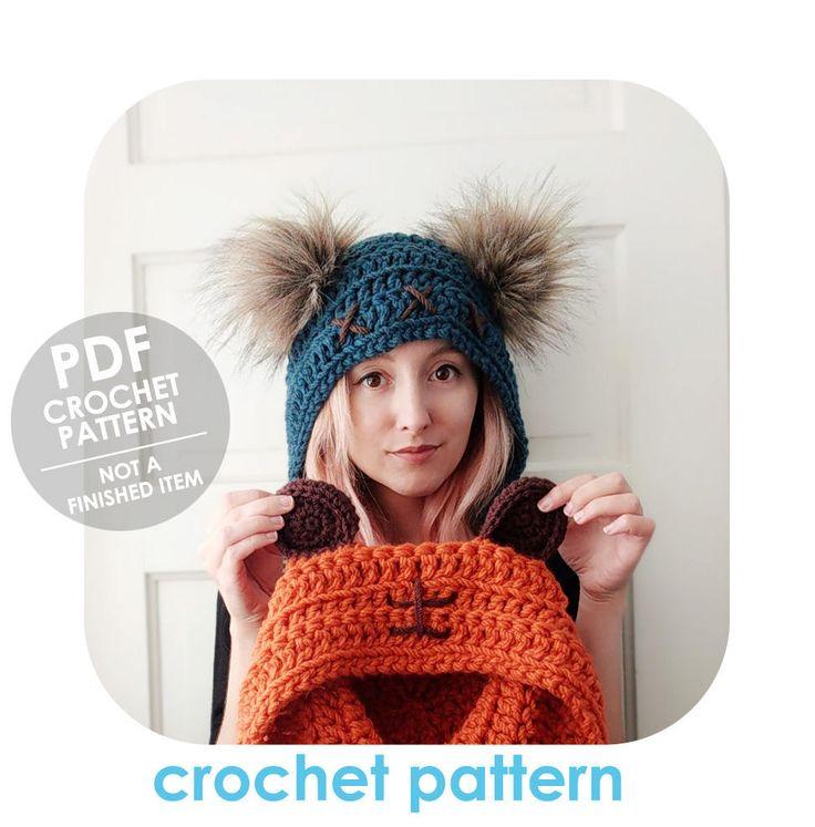 crochet pattern - ewok inspired crochet hood hat - galaxy bear - crochet bear ears hood hat - faux fur pompom ears - crochet hat pattern by HELLOhappy on Etsy
