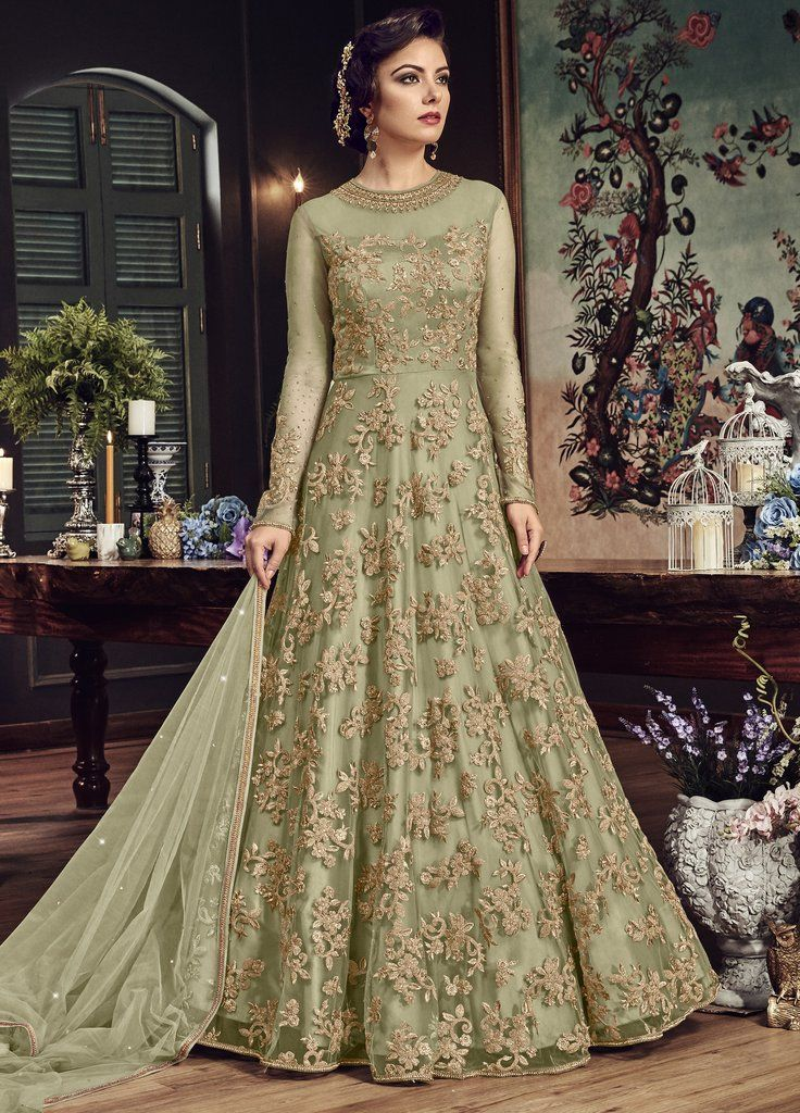 7b5b418b73 Green Net Zari Embroidered Stones Work Designer Suit (Unstitched) in 2019 |  FROCKS DESIGN | Anarkali gown, Anarkali suits, Dresses