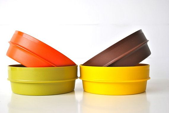 Nesting Tupperware bowls orange yellow brown green by charliesnest, $16.00