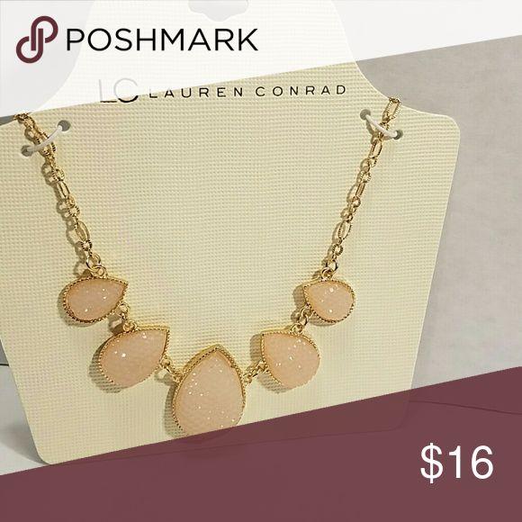LC Lauren Conrad Statement Necklace Gold tone Simulated Pink Druzy Quartz Statement Necklace LC Lauren Conrad Jewelry Necklaces