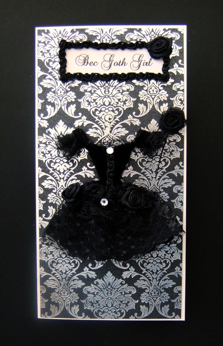 58 best gothic wedding ideas images on pinterest jewerly ancient bec goth girl personalized dress card dl size handmade greeting card 2000 kristyandbryce Images